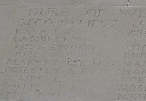 Lieut. Guy Peskett's name on the Arras Memorial