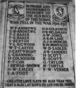 The Hove High School War Memorial